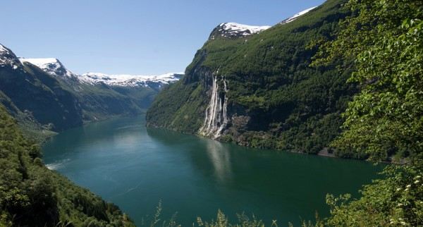 Helicopter tour Sightseeing Geiranger fjord Norway
