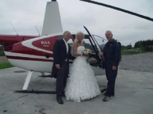 Helikopter til bryllups festen er en vinner