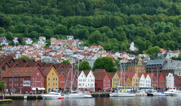Helicopter flights over Bergen Norway Bryggen