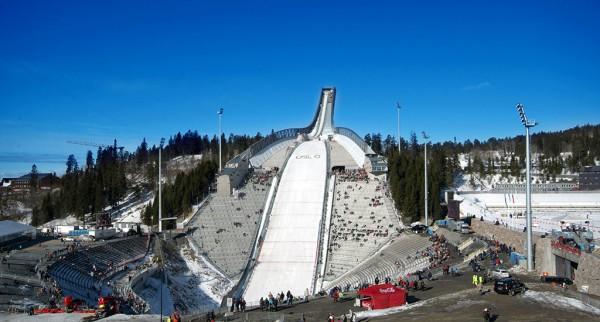 Holmenkollen Ski jump. Helicopter Oslo tour