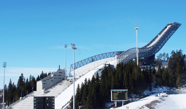 Helicopter over Holmenkollen Ski Jump Norway