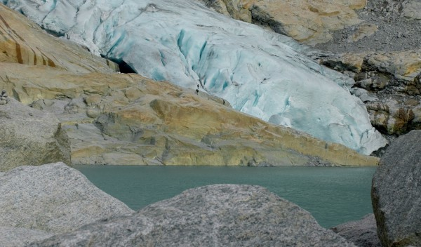 Helicopter view of Glaciers in Norway Briksdalsbreen Glac