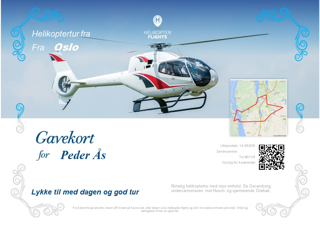 Gift Certificates on Helicopter Sightseeing Tours Norway