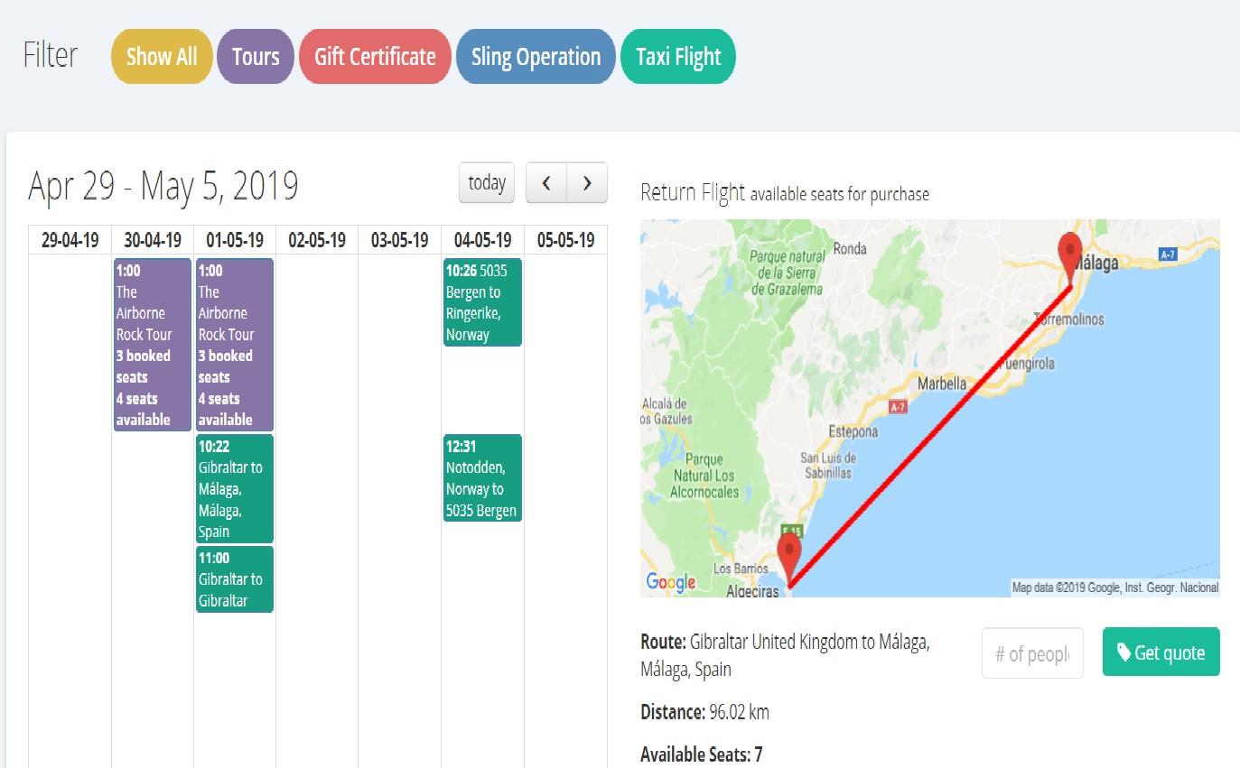 Low price calendar Helicopter taxi flights Marbella Malaga Gibraltar